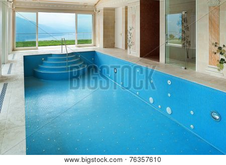 Interior, luxury villa, pool decorated with frescoes