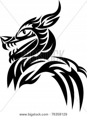 Tattoo Design Of Dragon Head, Vintage Engraving.