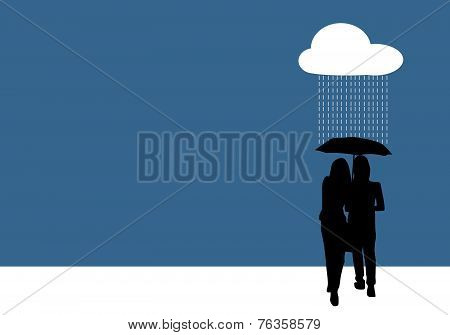 Couple Sharing An Umbrella, Illustration