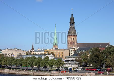 View Of Riga With Riga Cathedral. Latvia