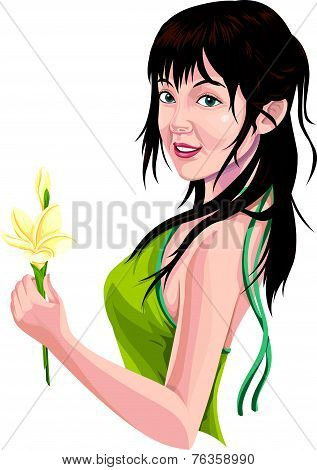Vector Of Young Woman Holding Flower.