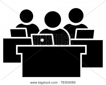 Office workers at workplace icon