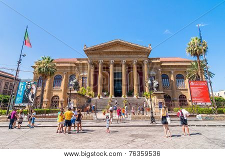 Famous Opera House Teatro Massimo In Palermo, Sicily, Italy