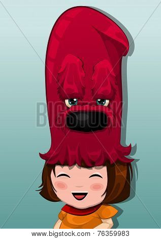 Little Girl With Red Choosing Hat, Illustration