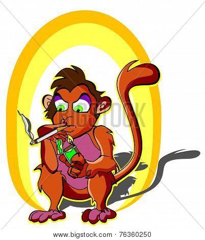 Monkey Smoking, Illustration