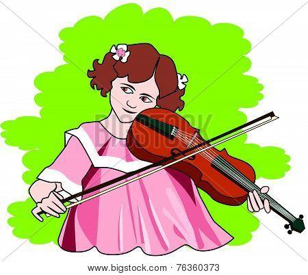 Girl Playing The Violin, Illustration