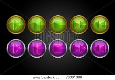 Music Player Buttons, Illustration