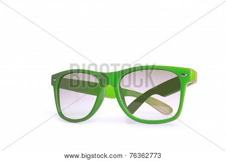 A pair of green spectacles of modern woman isolated on white background
