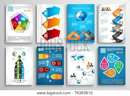 Set of Flyer Design, Web Templates. Brochure Designs, Technology Backgrounds. Mobile Technologies, Infographic  and statistic Concepts and Applications covers.