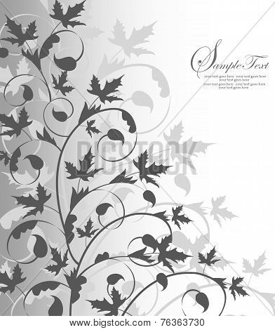 Vintage Invitation Card With Ornate Elegant Retro Abstract Floral Leaf Design