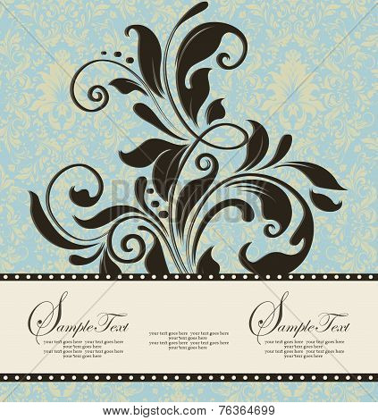 Vintage Invitation Card With Ornate Elegant Retro Abstract Floral Design