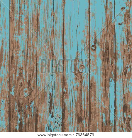 Old blue realistic plank wood texture background. vector illustration.