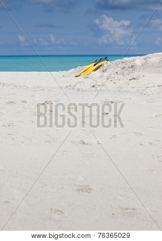 Idyllic beach of Indian ocean with yellow flippers
