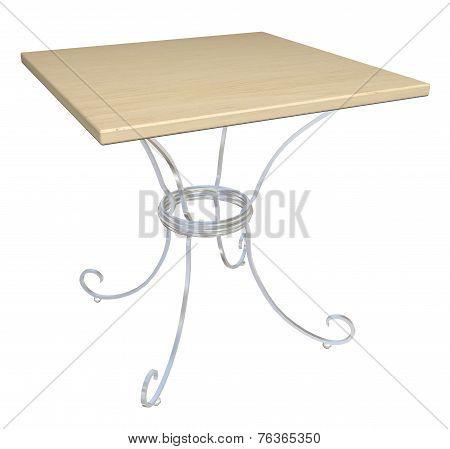 Square Wooden Cafe Table, 3D Illustration