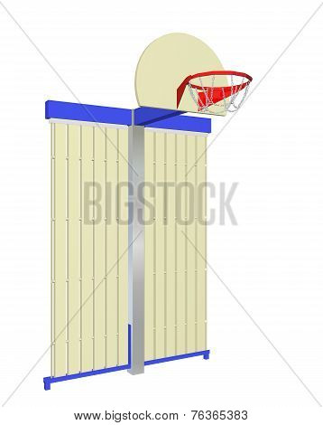 Red, Blue And Beige Wall-mounted Basketball Goal With Protective Backing, 3D Illustration