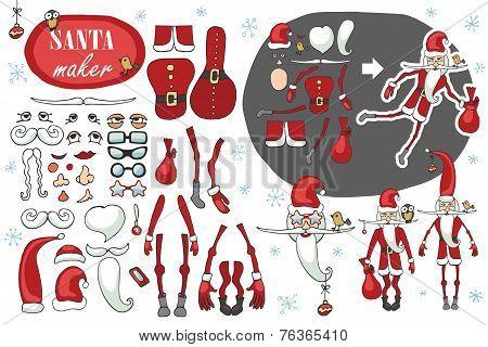 Santa Claus maker.Humorous Constructor image set