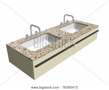 Modern Washroom Sink Set With Granite Counter And Chrome Fixtures