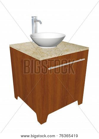 Modern Bathroom Sink Set With Ceramic Wash Bowl, Chrome Fixtures, And Wooden Cabinet With Granite Co