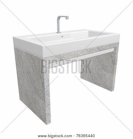 Modern Washroom Sink Set With Ceramic Or Acrylic Wash Basin, Chrome Fixtures, And Granite