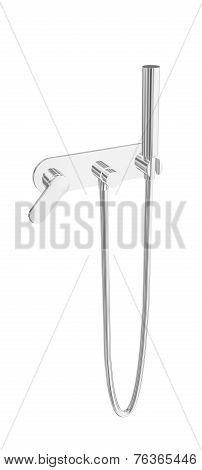 Modern Hand-held Water Spray Chrome Shower Fixtures 3D Illustration