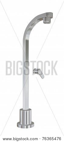 Modern Shower Fixtures With Chrome Finishing, 3D Illustration