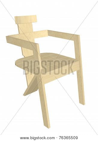 Wooden Chair, 3D Illustration