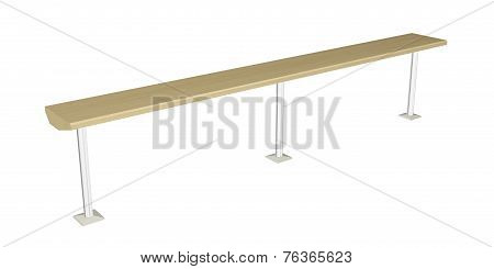 Balance Beam Or Wooden Rail, 3D Illustration