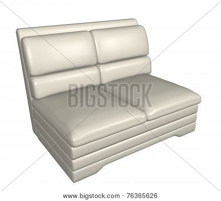 Two-seater All-leather Sofa, 3D Illustration