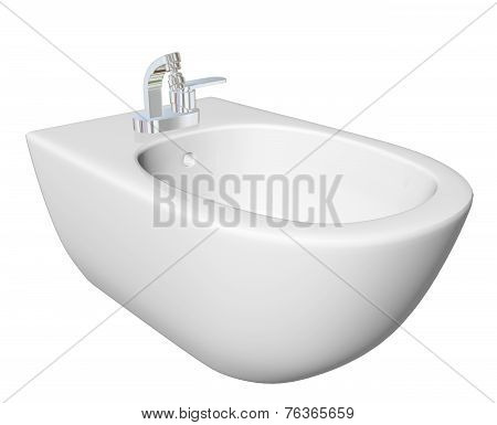 Round Bidet Design For Bathrooms. 3D Illustration.