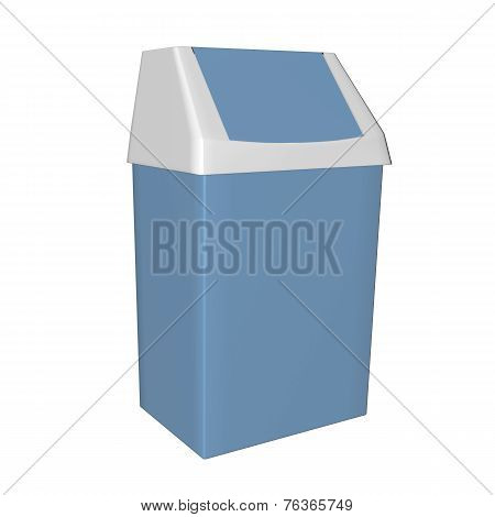 Plastic Blue And White Trash Bin, 3D Illustration