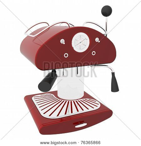 Red And Chrome Espresso Coffee Machine, 3D Illustration
