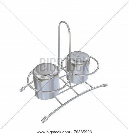 Stainless Steel Salt And Pepper Shakers With Rack, 3D Illustration