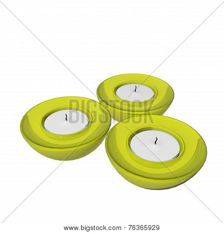 Yellow Round Ceramic Candle Holders, 3D Illustration