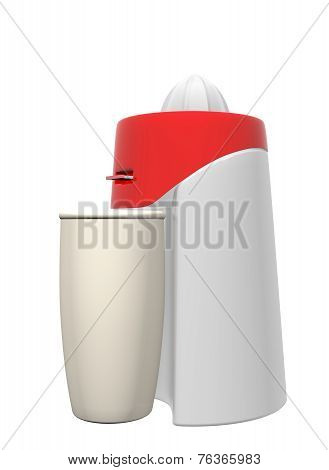 Red And White Juicer And Tall Beige Glass, 3D Illustration