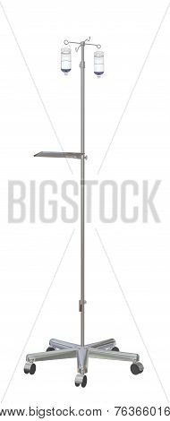 Adjustable Mobile Stainless Medical  Iv Pole With Intravenous Fluid Bottles, 3D Illustration