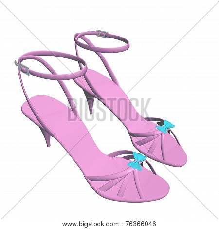 Pink Stilleto Heels Or High Heels Shoes With Ankle Strap And Blue Ribbon, 3D Illustration