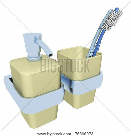 Plastic soap dispenser and a plastic glass with toothbrush
