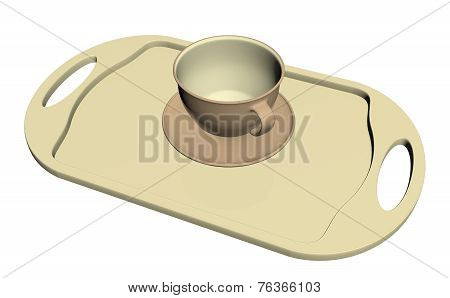 Teacup and dish on a cream colored platter