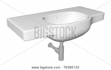 Modern washbasin or sink with faucet and plumbing fixtures