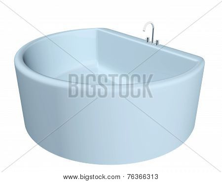 White semi-circular modern bathtub with stainless steel fixtures
