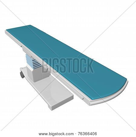 Adjustable Height Medical Examination Table Or Bed With Blue Padding, 3D Illustration, 3D Illustrati