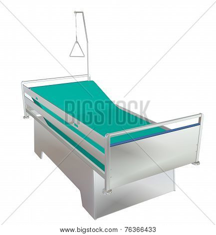 Green And Grey Mobile Children's Hospital Bed With Recliner And Side Guards, 3D Illustration