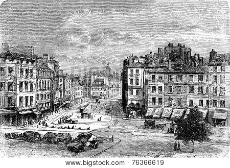 People's Square In Saint-Étienne, Vintage Engraving.