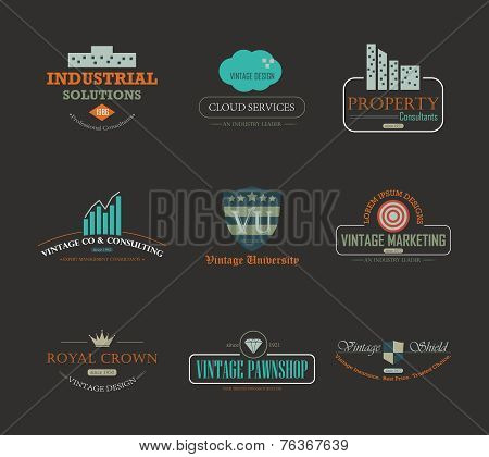 Set of vintage theme abstract business and industry logo design element