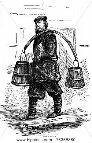 The Doorman, Vintage Engraving.
