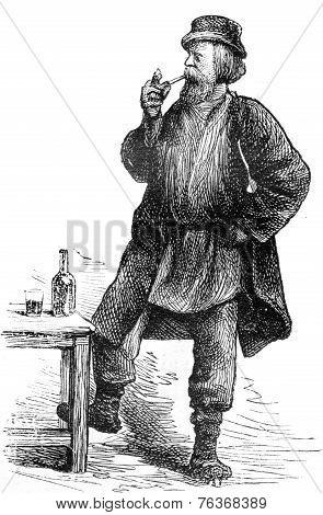 The Worker, Vintage Engraving.