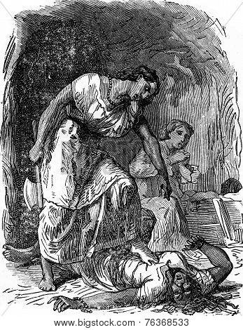 Dramas Of India. Punishment, Vintage Engraving.