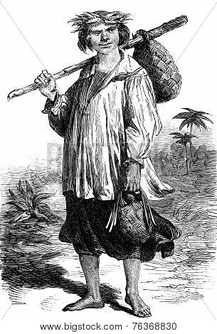 Tahiti. Type Of Man, Vintage Engraving.