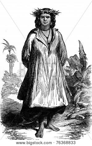 Tahiti. Type Of Woman, Vintage Engraving.
