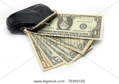 dollars are in a black purse